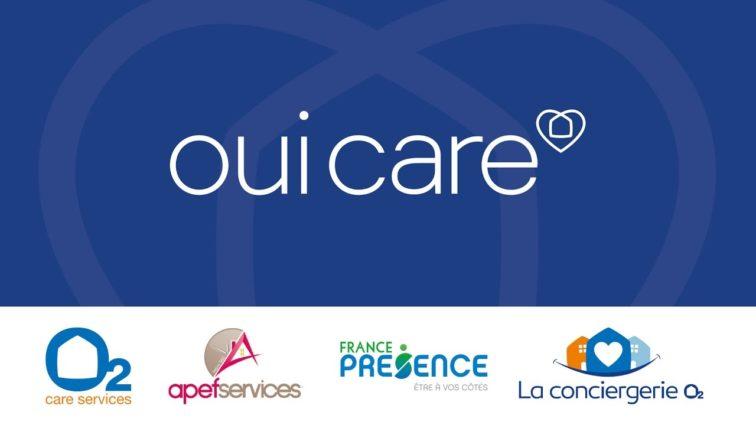 Les enseignes du Groupe OUI CARE: O2, APEF Services, France Présence, La conciergerie O2